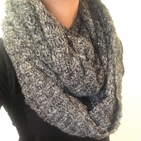 fc0b6ebe07170 H&M Accessories | Grey Infinity Scarf With Shimmer | Poshmark